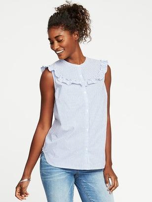 Ruffled-Yoke Sleeveless Shirt for Women $26.99 thestylecure.com