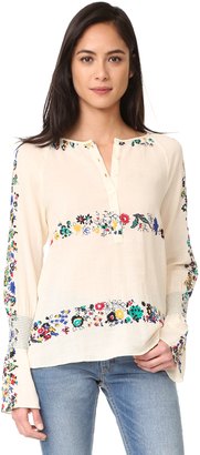 Derek Lam 10 Crosby Smocked Cuff Blouse $350 thestylecure.com