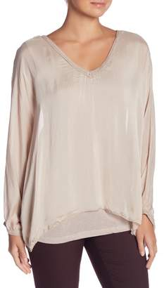 Tempo Paris Long Sleeve Embroidered Blouse