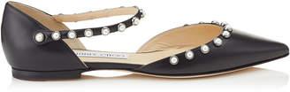 Jimmy Choo LEEMA FLAT Black Nappa Leather Flats with Beads