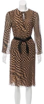 Rena Lange Belted Geometric Print Dress Beige Belted Geometric Print Dress