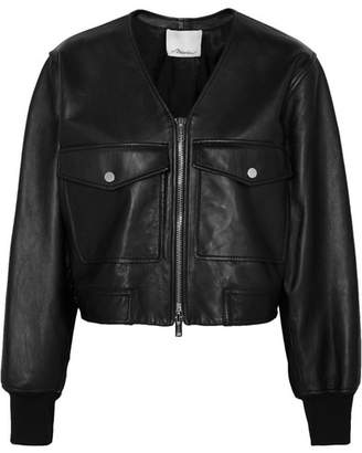Cropped Leather Bomber Jacket - Black