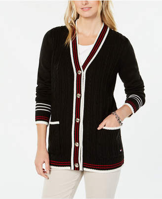 Tommy Hilfiger Striped-Trim Mixed-Knit Cardigan