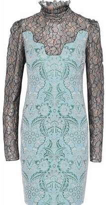 Lanvin (ランバン) - Lanvin Metallic Lace-Paneled Brocade Dress