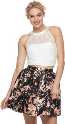 Speechless Juniors' Floral Lace Halter Top & Skirt Set