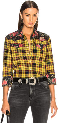 R 13 Exaggerated Collar Cowboy Shirt