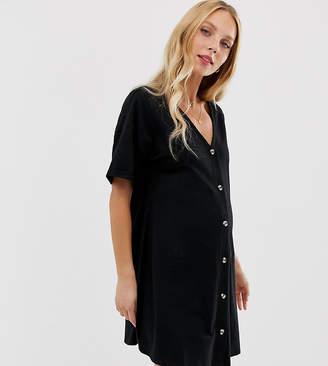f548e897bfbfd Asos DESIGN Maternity mini slub button through swing dress