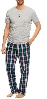 Haggar Mens 2-pc. Short Sleeve Pant Pajama Set