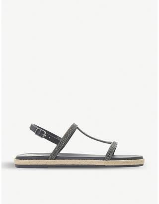 Dune Diamante H-bar leather sandals