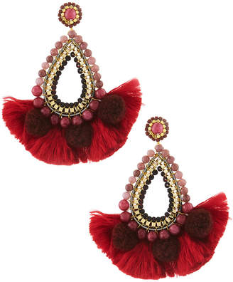 Nakamol Beaded Teardrop Tassel Earrings, Red