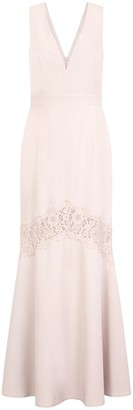 Little Mistress Abbie Lilac Lace Insert Plunge Maxi Dress