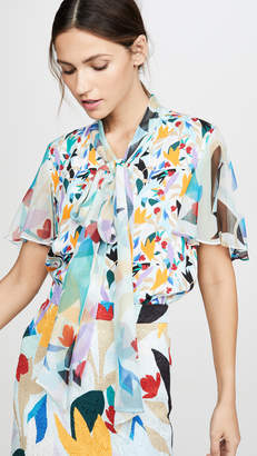 Prabal Gurung Tie Neck Flutter Sleeve Top