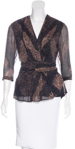 Burberry Splatter Print Silk Blouse