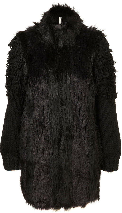 Premium Fur and Knit Sleeve Coat