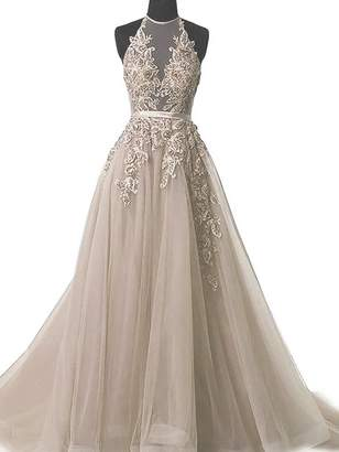 Fated Wedding Women's Tulle Applique Prom Dress Halter Lace Up Formal Long