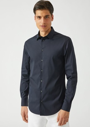 Emporio Armani Stretch Cotton Shirt With Classic Collar