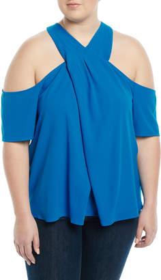 Rachel Roy Plus Halter-Neck Cold-Shoulder Blouse, Plus Size