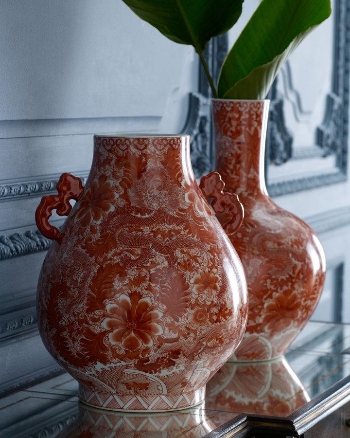 Horchow Orange Porcelain Vase