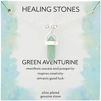 clear Silver Plated Genuine Green Aventurine Stone Pendant Necklace