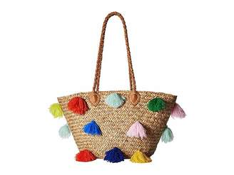 San Diego Hat Company BSB1566 Seagrass Tote with Multicolored Poms and Pleather Handle Tote Handbags