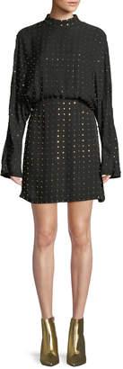 Sally Lapointe Long-Sleeve Golden-Stud Silk Mini Dress