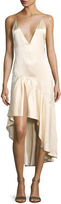 Jonathan Simkhai Silk Satin High-Low Slip Dress, Beige