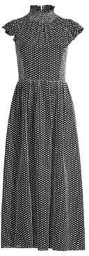 Kate Spade Smocked High-Neck Midi Dress