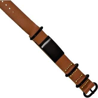 Primal Steel Stainless Steel Brushed Black IP Brown Leather Adjustable ID Bracelet