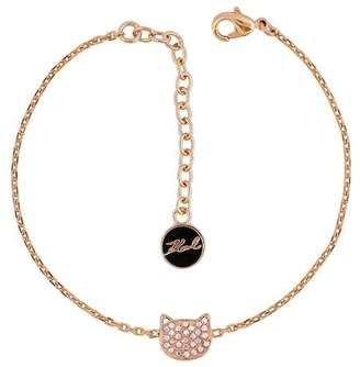 Karl Lagerfeld Rose Gold Plated Silhouette Pave Swarovski Crystal Accented Choupette Cat Charm Bracelet