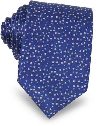 Lanvin Cobalt Blue Geometric Print Silk Men's Narrow Tie