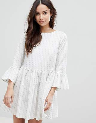 Glamorous Stripe Dress With Flare Sleeves