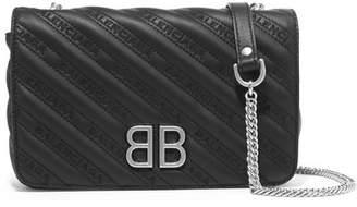 Balenciaga Embroidered Leather Shoulder Bag - Black
