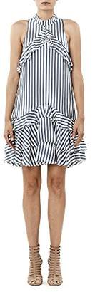 Nicole Miller Women's Sailor Stripe Ruffle Dress
