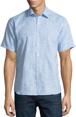 Neiman Marcus Geometric-Jacquard Short-Sleeve Sport Shirt