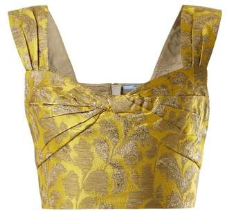 Prada Sweetheart Neck Floral Brocade Top - Womens - Yellow