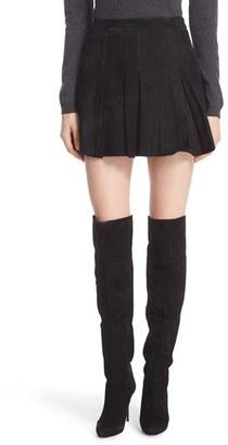 Women's Alice + Olivia 'Lee' Pleat Suede Skirt $898 thestylecure.com