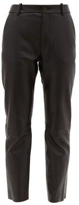Nili Lotan Montauk Lizard Effect Leather Slim Leg Trousers - Womens - Black