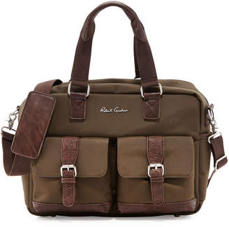Robert Graham Faux Leather-Trimmed Nylon Duffel Bag, Olive