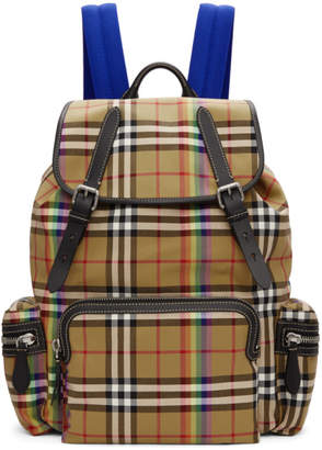 Burberry Beige Medium Rainbow Vintage Check Backpack