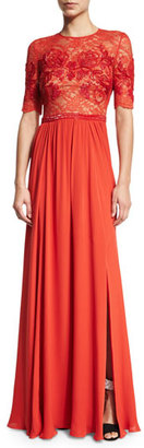 Jenny Packham Elbow-Sleeve Embellished Gown, Pumpkin $5,275 thestylecure.com