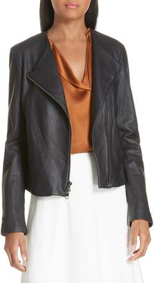 Vince Asymmetrical Zip Front Leather Jacket