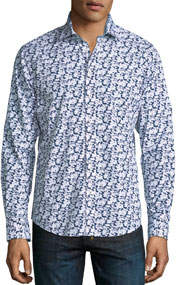 Large Floral-Print Sport Shirt