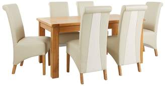 Very Oakland 170cm Solid Wood Dining Table + 6 Sienna Chairs