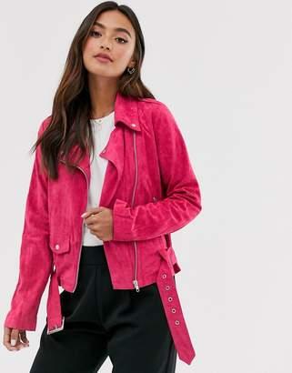 Glamorous faux suede biker jacket
