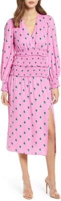 AFRM Hazel Print Smocked Crepe Dress