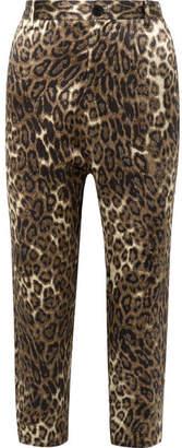 Nili Lotan Paris Cropped Leopard-print Silk-satin Pants - Leopard print