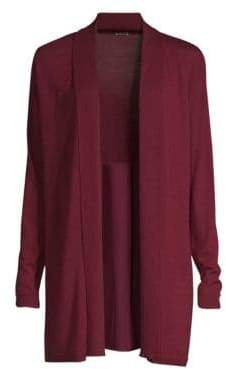 Elie Tahari Adele Silk Back Merino Wool Cardigan