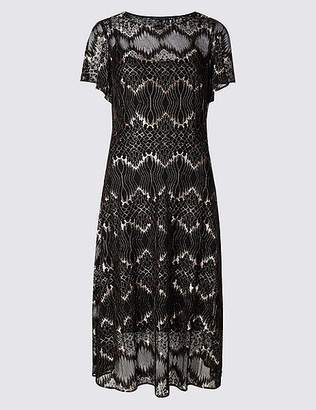 Marks and Spencer Lace Short Sleeve Swing Midi Dress