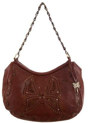 Anna Sui Embroidered Leather Hobo