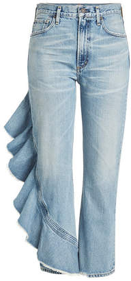 Citizens of Humanity Cropped Jeans with Ruffle Trim